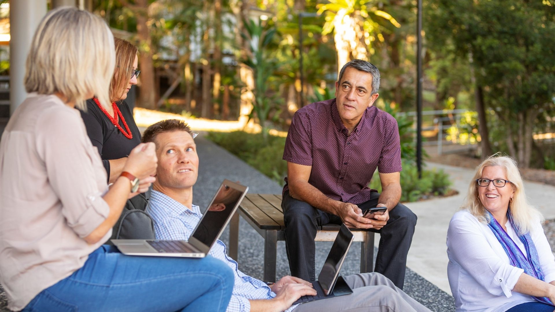 Group in outside business meeting