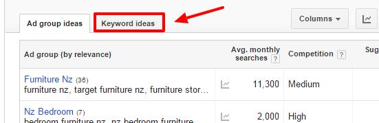 Keyword Ideas Tab